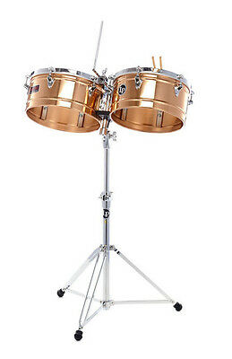 "LP LATIN PERCUSSION 13"" & 14"" PRESTIGE BRONZE TIMBALE DRUMS w/ STAND LP1314-BZ"