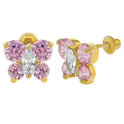18k Gold Plated Pink Clear CZ Butterfly Screw Back Girl Children Earrings