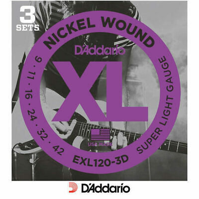 D'addario EXL120 -3D 3 Pack Electric 9-42 Guitar Strings Sets Sup Light Daddario