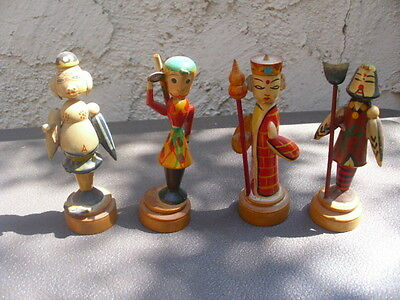 """Set 4 Vintage Small Wood Turned Figurines Russian? Guard Pig + Hand Painted 4"""""""