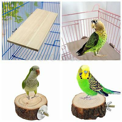 Wooden Parrot Bird Cage Perches Stand Platform Pet Budgie Hanging Play Toys