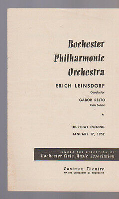 Rochester Philharmonic Orchestra January 17 1952 Gabor Rejto