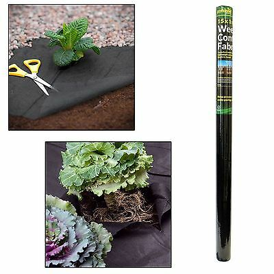 15m x 1m / 45 GSM Weed Control Fabric Porous Membrane Rolls Ground Cover