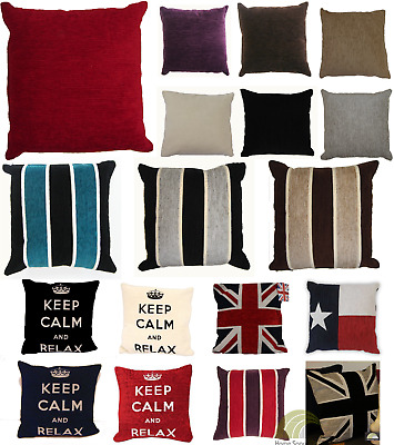 Chenille Cushion Covers Case Scatter Square Polycotton Striped or Plain New