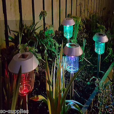 12 X Colour Changing Solar Powered Power Light Post Led Outdoor Garden Lighting