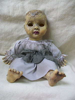 Creepy Haunted Baby Doll Halloween Prop w/ Sound Toy Costume Dolly Cracked Head