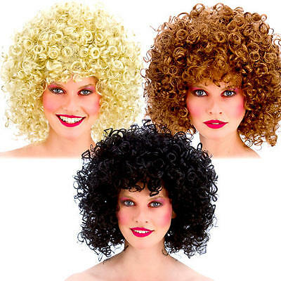 80s Curly Disco Perm Wigs Ladies Fancy Dress 1980s Adults Womens Costume Wig New