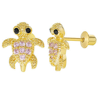 18k Gold Plated Pink CZ Little Turtle Screw Back Earrings Kids Girls 9mm