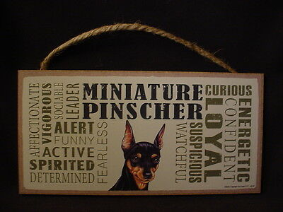 MINIATURE PINSCHER Subway Style Dog SIGN 5 X 10 wood PLAQUE MIN PIN black puppy