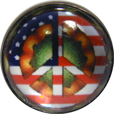 """I"""" Crystal Dome Button 1970s Peace Sign  #7  FREE US SHIPPING"""