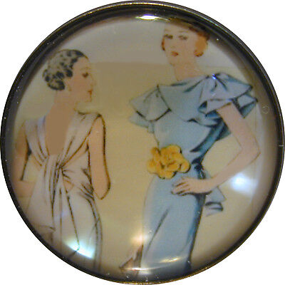 """I"""" Crystal Dome Button 1920-30 Fashion Image #44  FREE US SHIPPING"""