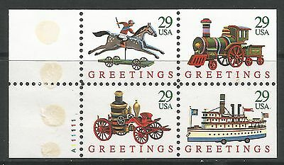 UNITED STATES. 1992. Greetings Booklet Pane. SG: 2762a. Mint Never Hinged.