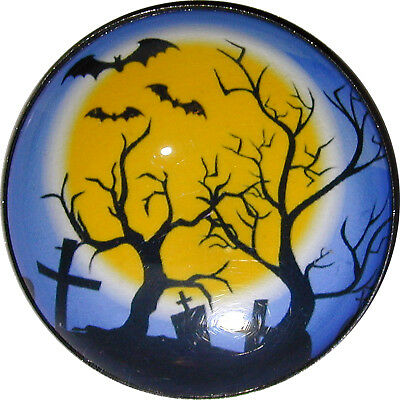Halloween Crystal Dome Button 1inch 2 Pumpkins HW40 FREE US SHIPPING