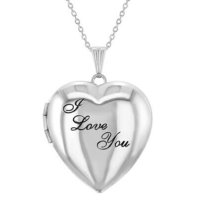 "Remembrance Heart ""I Love You"" Photo Locket Pendant Necklace 19"""