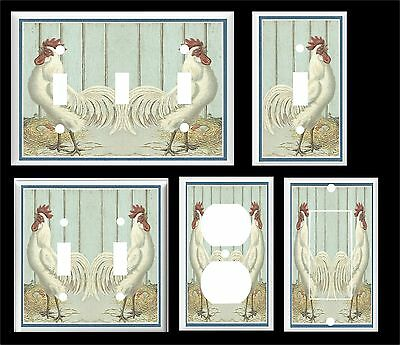 Vintage White Rooster Country Kitchen  Light Switch Cover Plate  U Pick Size