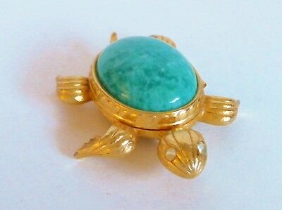 Avon Solid Perfume Turquoise Cabochon Turtle Compact Rhinestone Eyes 20% Full