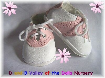 "Reborn Baby's"" Saddle Oxfords Shoes  89MM White and Pink -  REBORN SUPPLIES"