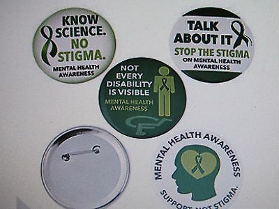 """12 Large MENTAL HEALTH AWARENESS PINS 3"""" button pins FREE SH buttons pin"""