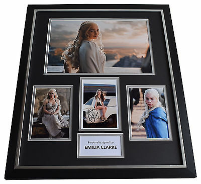 Emilia Clarke SIGNED Framed Photo Autograph Huge display Game of Thrones TV COA