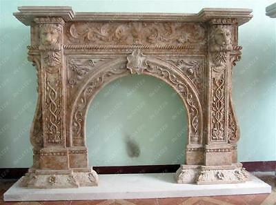 Unique Design on This Marble Fireplace Mantel features Lion's Head Support