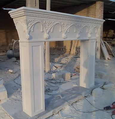Marble Fireplace Mantel, French Gothic White Gothic Arch, Floral Reliefs, Clean