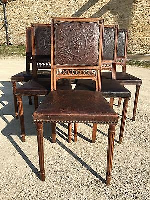 Antique French Renaissance Walnut Dining Chairs Pressed Leather 19 Century