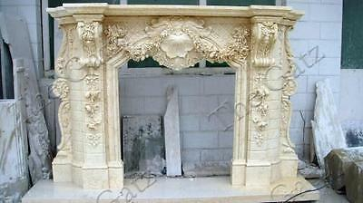Heavily Carved Marble Fireplace Mantel, French Rococo Baroque Design