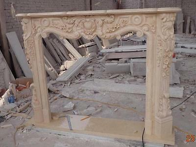 French Rococo Marble Fireplace Mantel , Beige