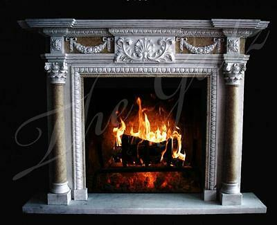 Hand Carved Italian Design Marble Fireplace Mantel