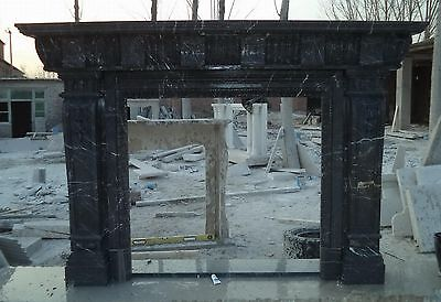 Marble Fireplace Mantel Hand Carved Greco Roman, Black Marble
