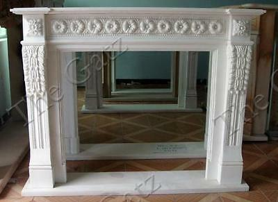 Marble Fireplace Mantel with Floral carvings, Classic Style in White Marble