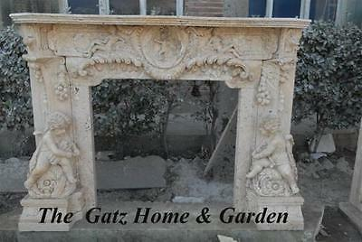 Carved Cherub Fireplace Mantel in White Travertine, French Design