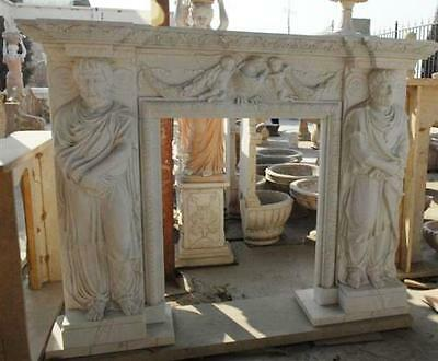 Hand Carved Marble Fireplace Mantel with Roman Male Statue Figures