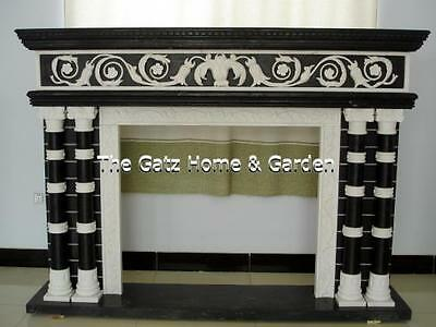 Italian Inspired Two Tone Fireplace Mantel with Columns and Swag Carvings
