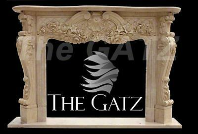 French Inspired Marble Fireplace Mantel with Elegant Scroll Design