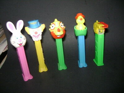 Pez Figures Lot Of 5 Clown Bunny Dinosaur Easter Bird Bunny Whistle