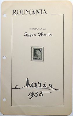 Princess Marie Of Romania 1914 - 1927 Autograph Signed Album Page ''Rare''