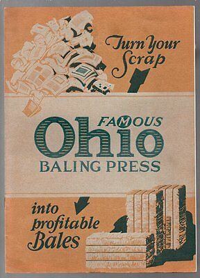FAMOUS OHIO BALING PRESS Ohio Cultivator Co 1920s TWO Sales Brochures