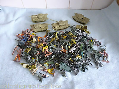 Job Lot of  155 Pieces Of Hard Plastic Soldiers with Tanks