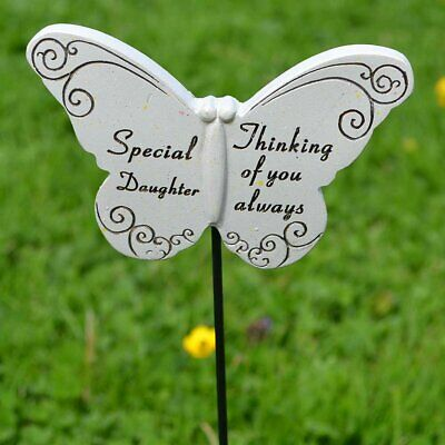 Thinking of Special Daughter Butterfly Memorial Tribute Stick Graveside Plaque