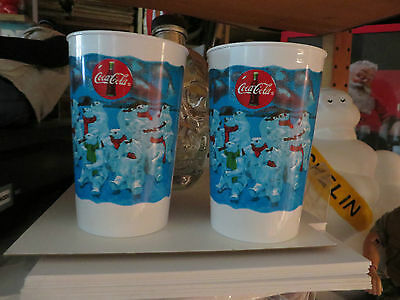 Coca-Cola Polar Bear Party Drinking Coke Lot Of 2 Plastic Drinking Cups