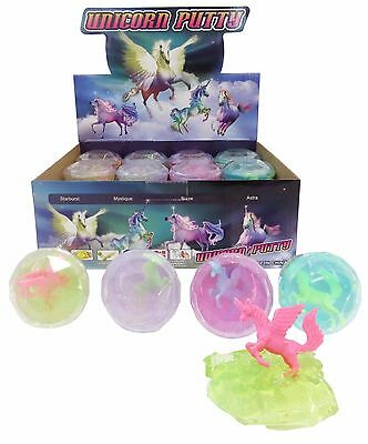 Bulk Lot x 4 Unicorn Glitter Putty Faceted Tubs Girls Party Favors Novelty Toys