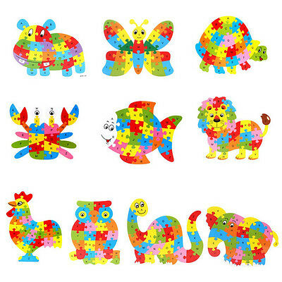 Wooden Animals Puzzle Jigsaw For Children Kids Educational Learning Toys Hot