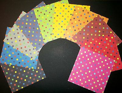 "Colourful SPOTS & DOTS Scrapbooking/Cardmaking Papers -15cm x 15cm (6"" X 6"")"