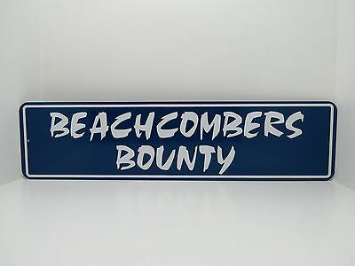 Blue 6 X 24 Beachcombers Bounty Aluminum And Vinyl Letters Sign Nautical Beach