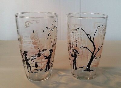 Vintage Libbey Pink Fade and Black Asian Pagoda Drinking Glasses