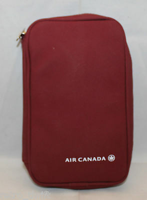 Air Canada Airlines Travel Amenity Kits Bag Pouch Wine Red Zipper Tooth Brush