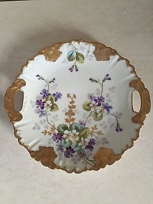French Hand Painted Lavender Gold Double Handled Cake Plate Gorgeous!!