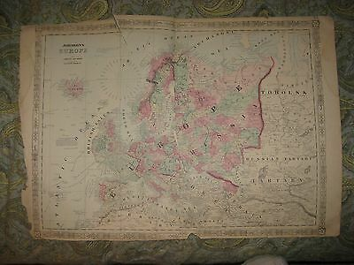Huge Superb Antique 1864 Europe Johnson Handcolored Map Russia Germany England N