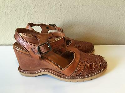 Vintage 1960's 70's brown Imperial leather braided wedge sandals heels shoes 6 B